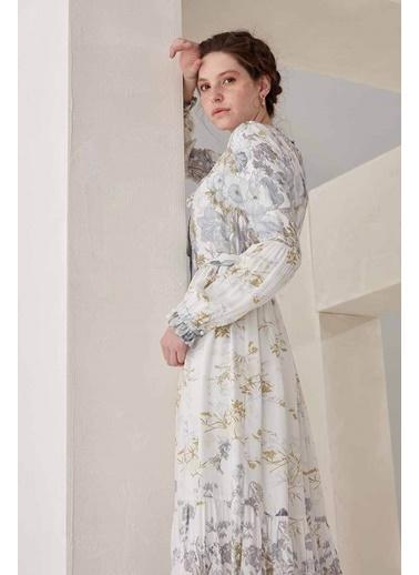 Vivencia Çiçek Desenli Kemerli Elbise Ekru Ekru